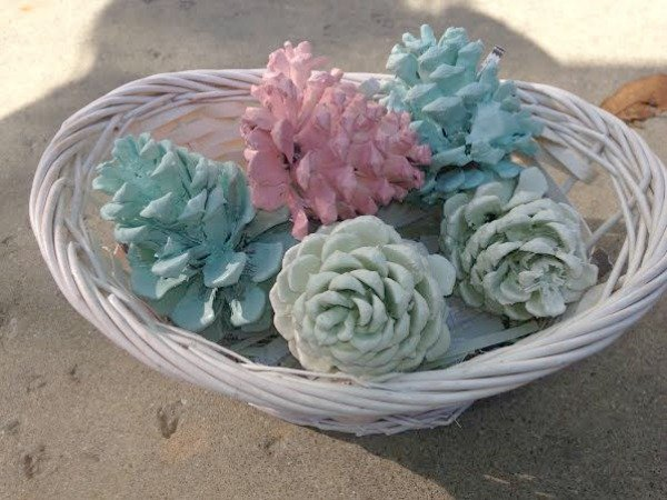 pastel painted pinecones