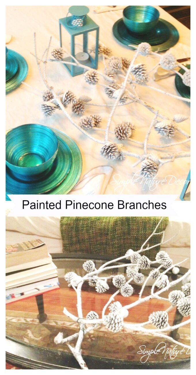 painted pine cone branches