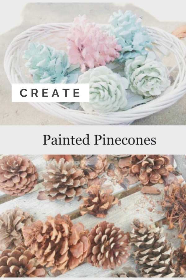 colorful painted pinecones