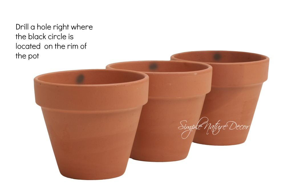 three pots for hanging plants