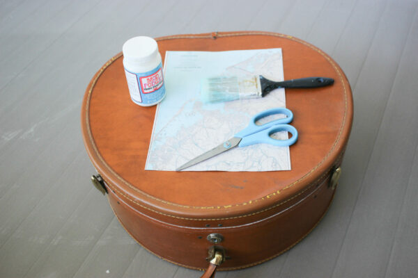 Supplies For Coastal Chic Learn How To Decoupage A Suitcase with Maps