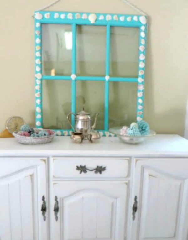 Seashell window on table:how to repurpose an old window