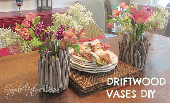 DRIFTWOOD VASE ON DINING TABLE
