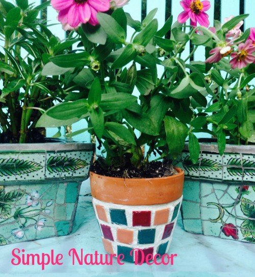 Mosaic Garden Pot DIY by Simple Nature Decor