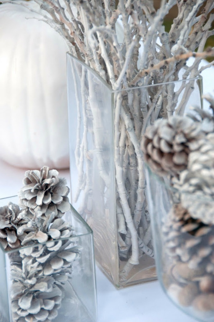 Painted white branch holiday centerpiece