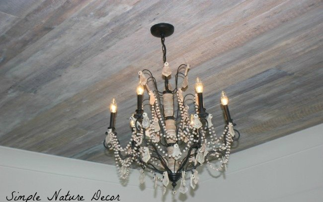chandelier reclaimed white wash ceiling