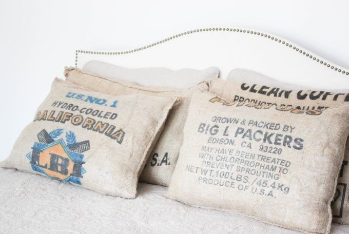 Burlap Coffee Sack Pillow DIY