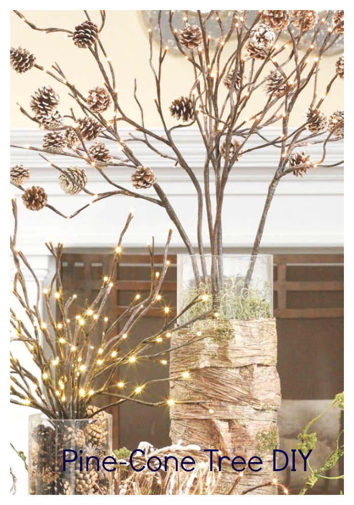 pinecone tree:decorating ideas with tree branches