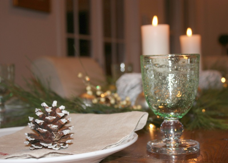 close up of holiday dining room table