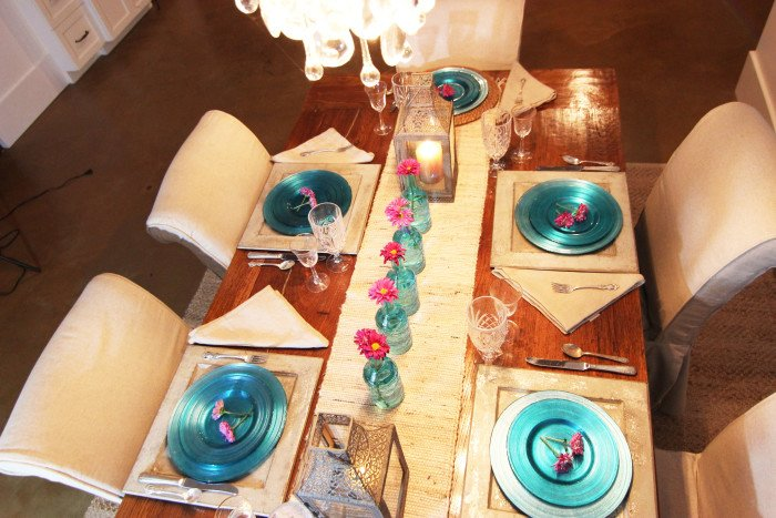 casual saturday turquoise place setting