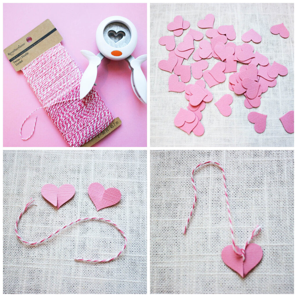supplies for valentine tree with heart shaped leaves