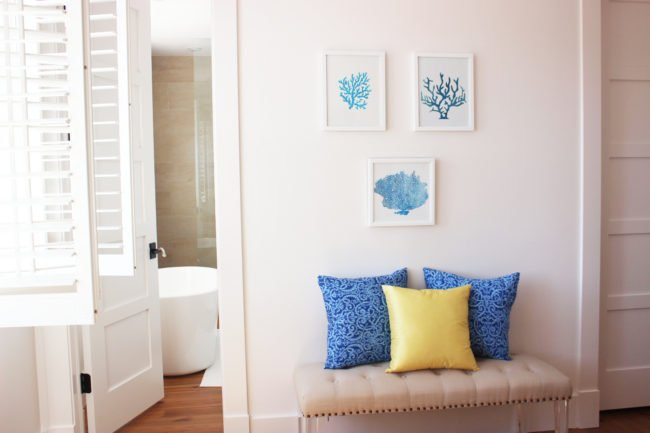 DIY   Blue Coral Stencil Wall Art