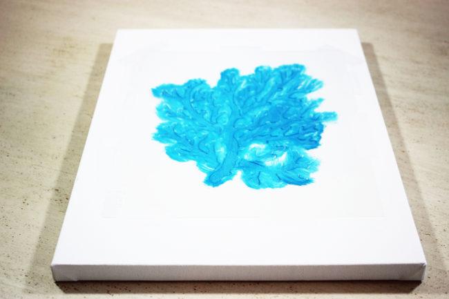 DIY - Blue Coral Stencil Wall Art