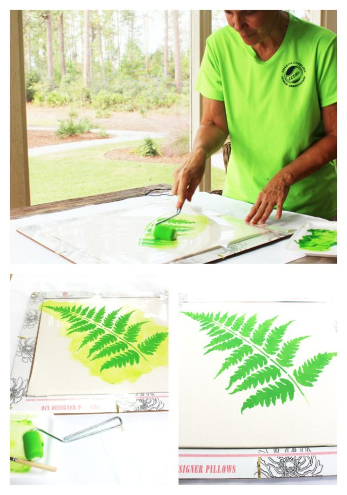 steps to How To Stencil Botanical Leaf On A Pillow In 6 Easy Steps
