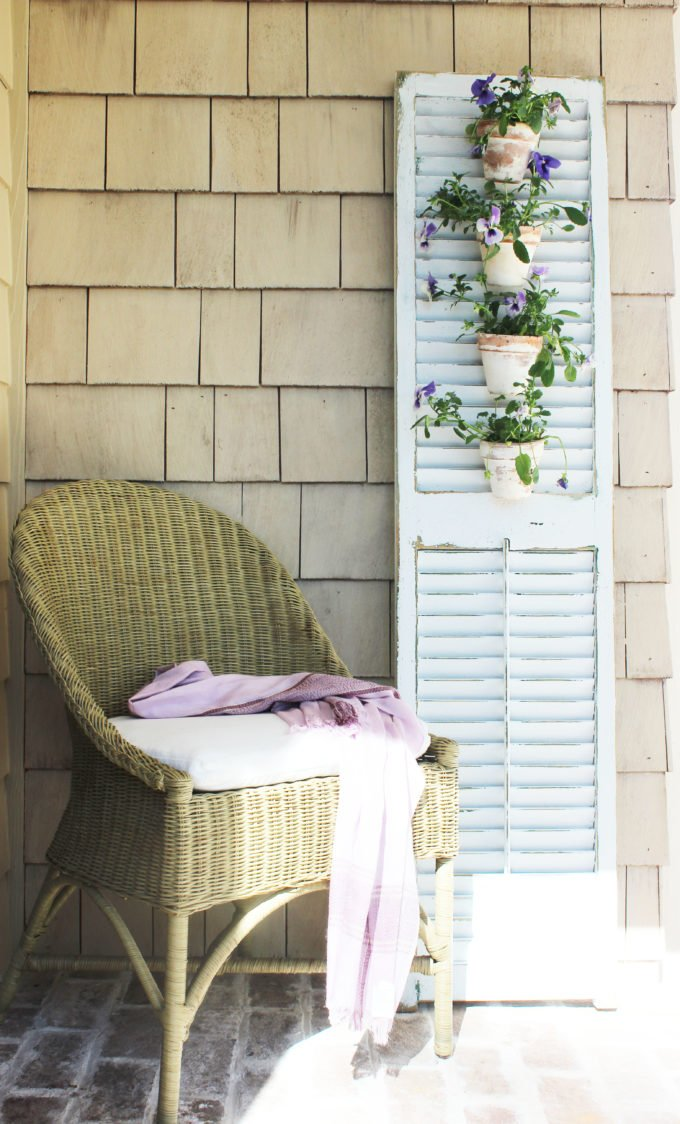diy Tuscan outdoor shutter flower holder