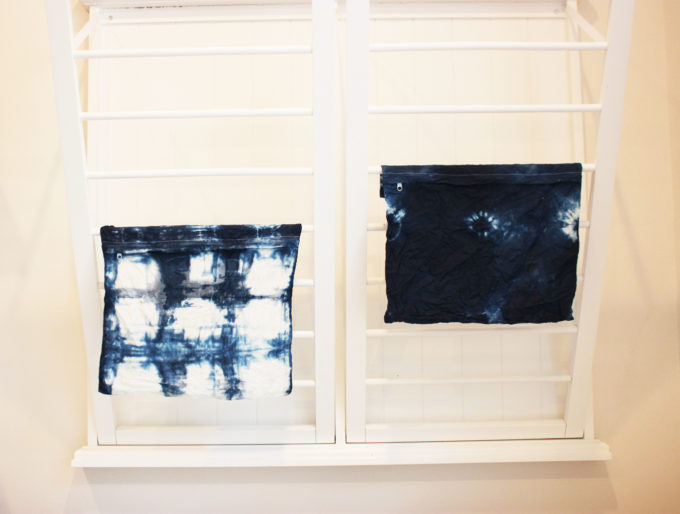 drying the pillow cases:  4 Easy Steps On How To Make A Hand-Dyed Shibori Pillow Cover.