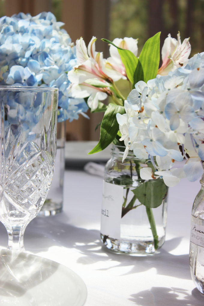 BLUE HYDRANGEAS TABLESCAPE FOR SUNDAYS EASTER DINNER