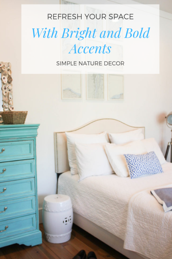 7 Ways to Refresh Your Home with Bright And Bold Home Decor Accents such as adding a colorful pillow