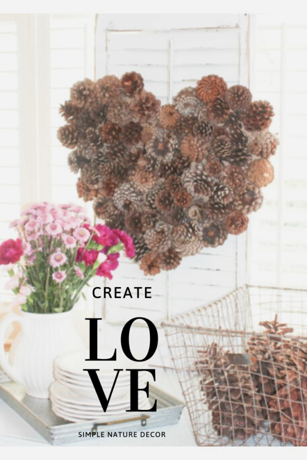 valentine pinecone wreath
