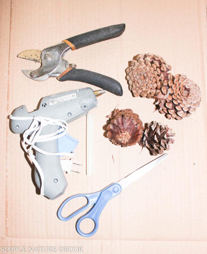 supplies for valentine pinecone wreath