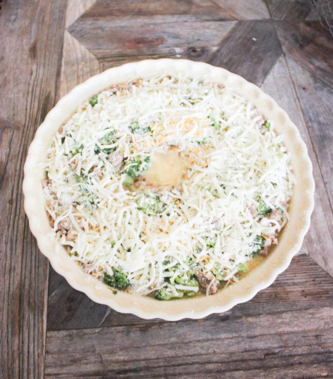 Quiche in pie plate:How To Prepare Crustless Ham and Broccoli Quiche