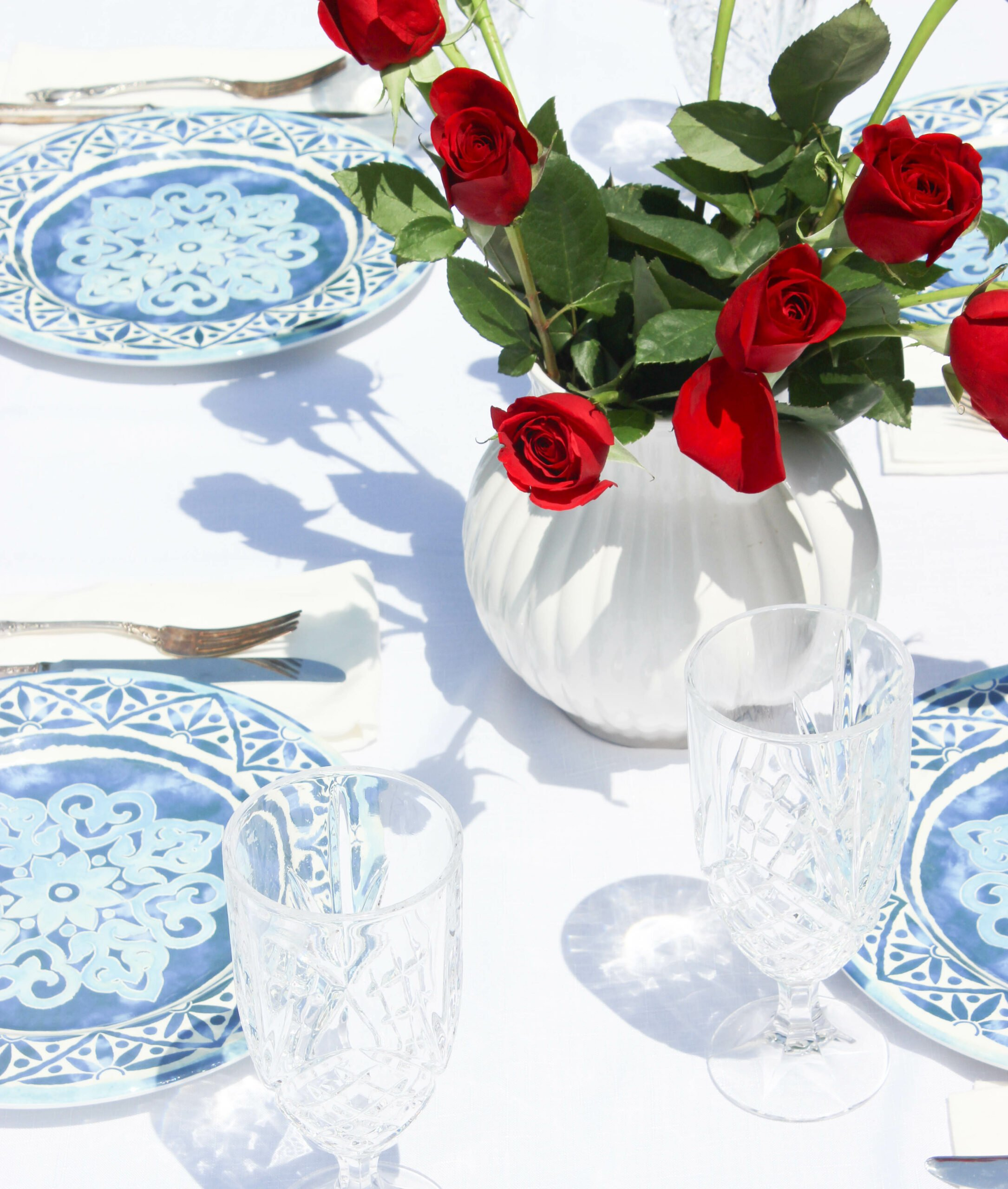 Timeless Blue and White Summer Tablescape