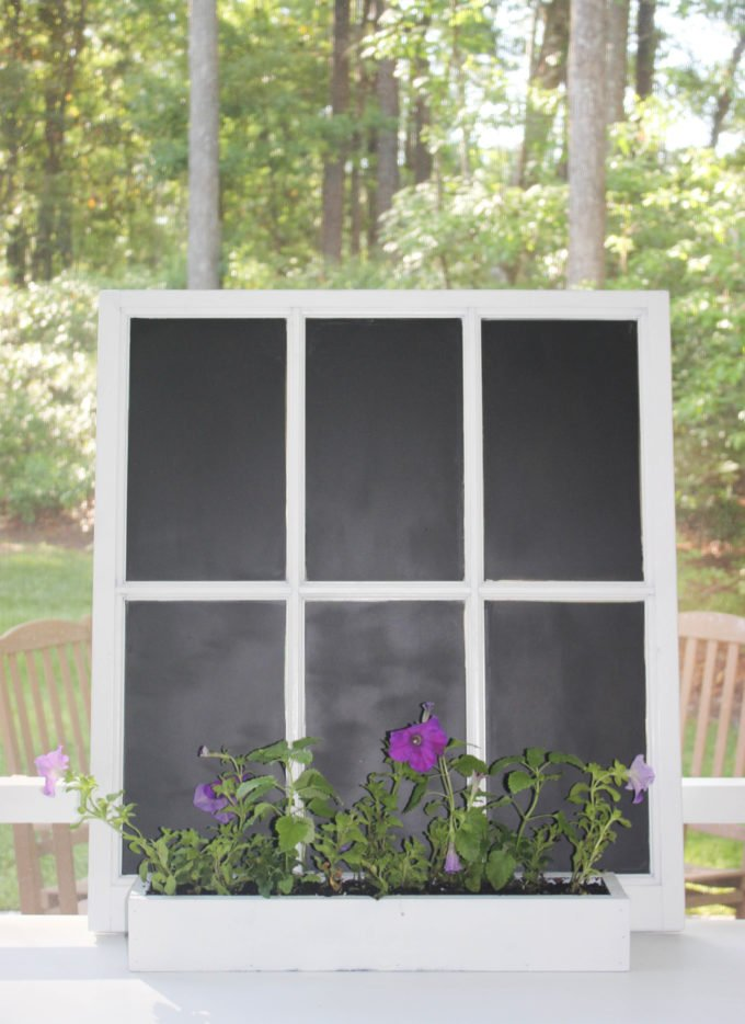 How to transform a window into a chalkboard garden sign (writing with chalk process)
