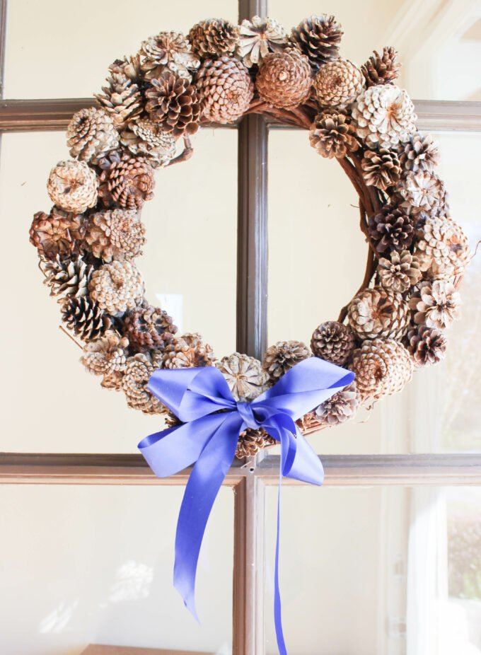 How To Make A Dazzling Bleached Pinecone Wreath