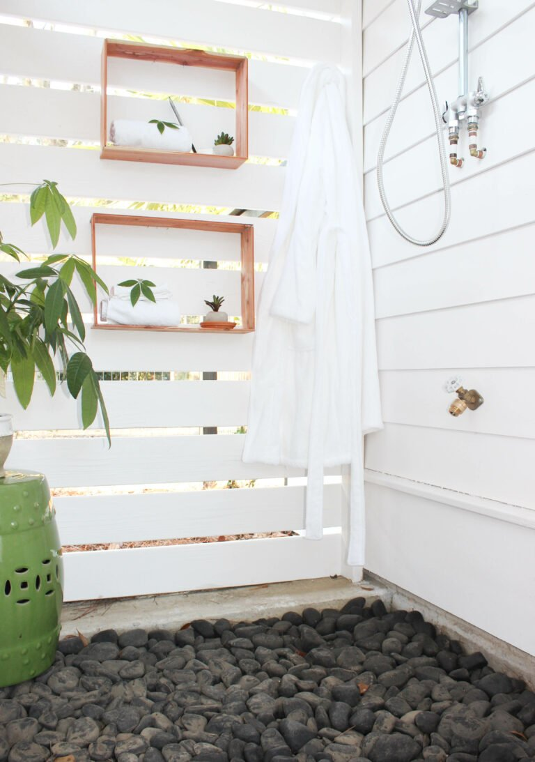 How To Create the Easiest Box Shelving For My Outdoor Shower