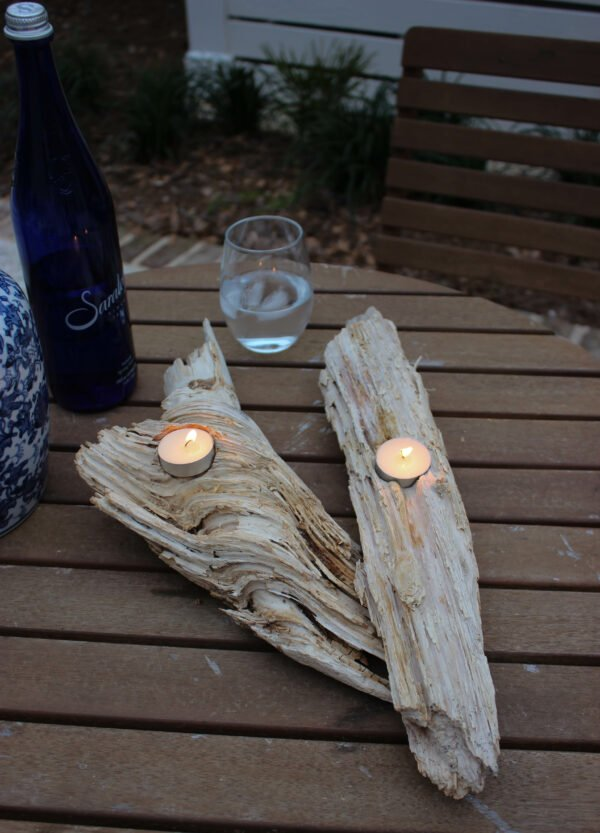 How To Make Natural DIY bleached Driftwood Candle Holder.