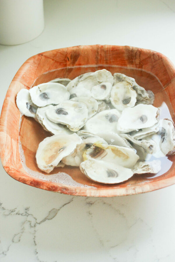 clean the oyster shells with bleach and water
