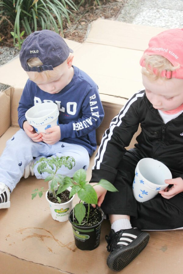 kids planting in How To Hand Paint Garden Pots With Chinoiserie Designs