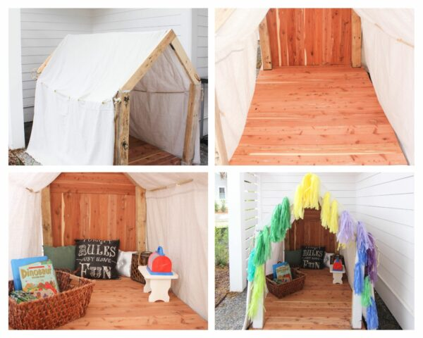 decorating the cedar plahouse How To Make The Cutest Outdoor Cedar Playhouse