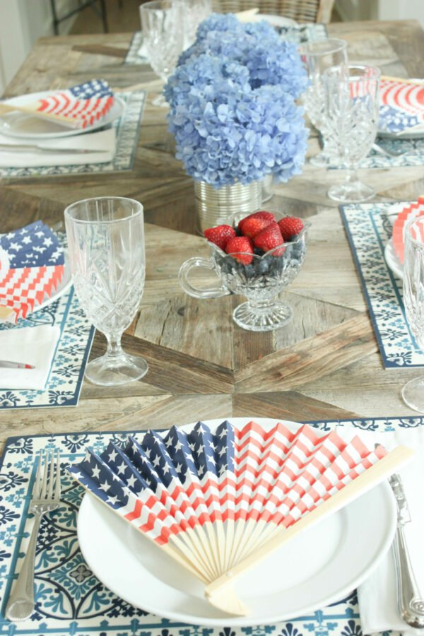 add blue hydrangeas How To Create a Festive Red White and Blue Tablescape