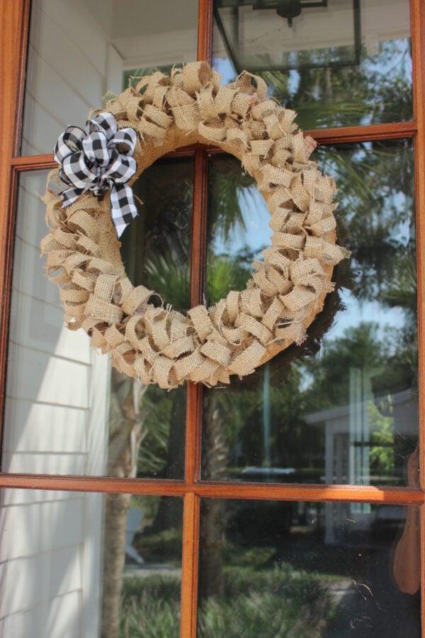 How To Create an Easy Fall Wreath Using Coffee Bean Sacks