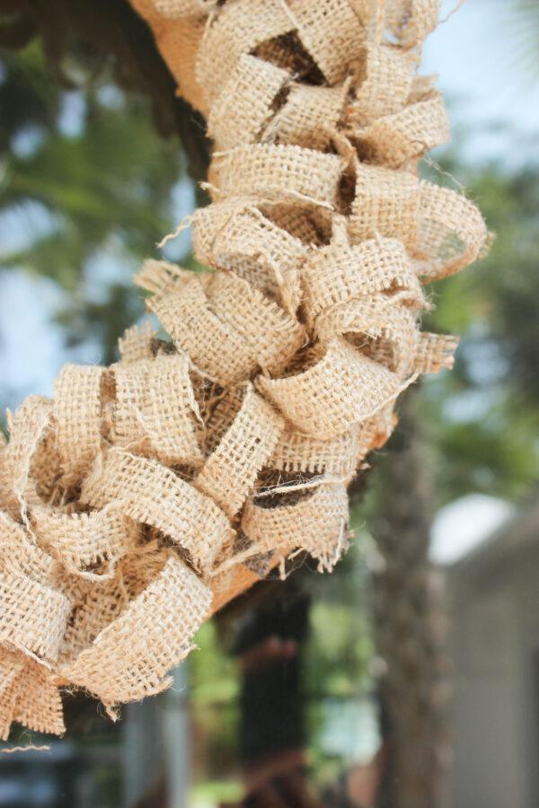 rlap ringlets on coffe bean wreath: How To Create an Easy Fall Wreath Using Coffee Bean Sacks