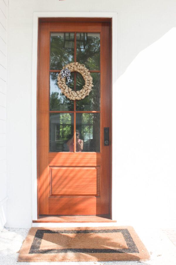 offe bean sack wreath on door: How To Create an Easy Fall Wreath Using Coffee Bean Sacks