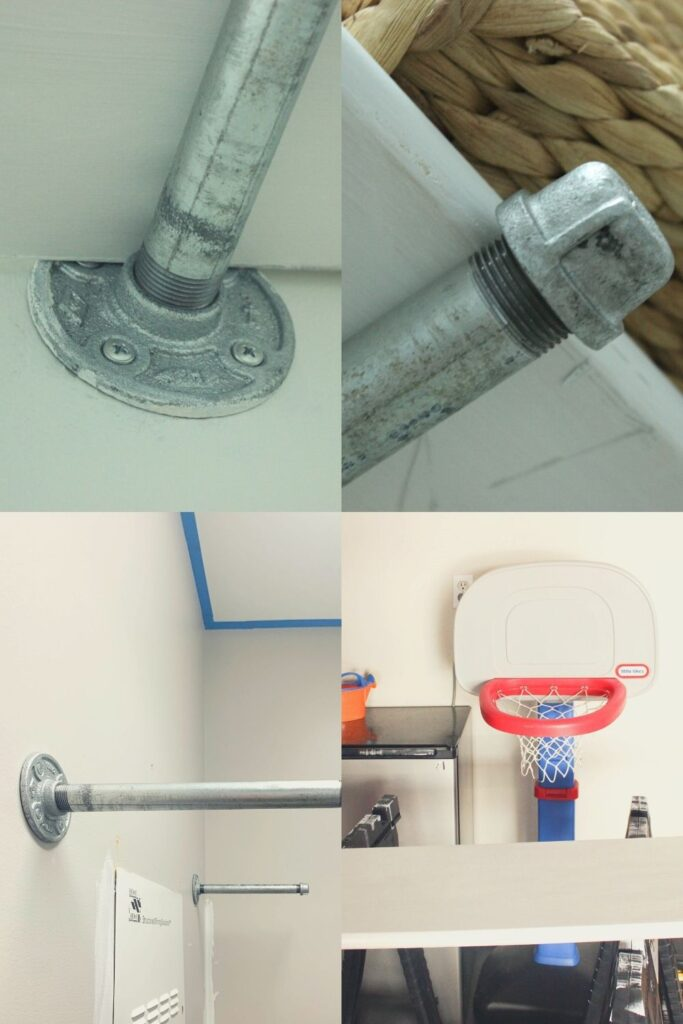 Supplies needed for pipe shelving:How To Install Industrial Pipe Shelves For Laundry Room