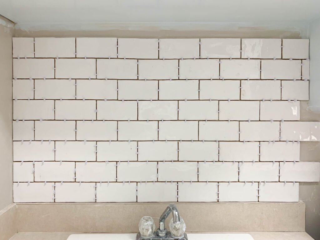 Material for subway tile backsplash: How To Install Subway Tile Backsplash In The Laundry Room