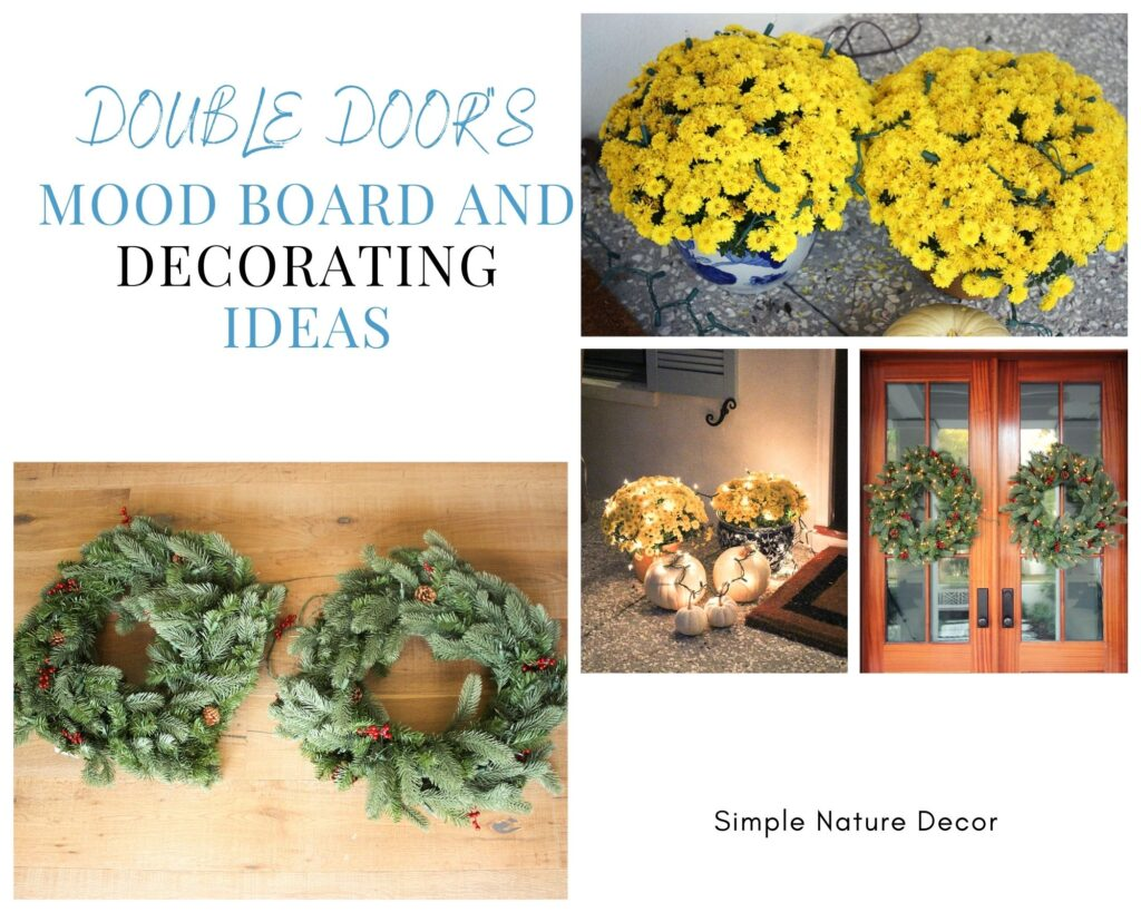 Mood board for How To Decorate Double Front Doors For the Holidays