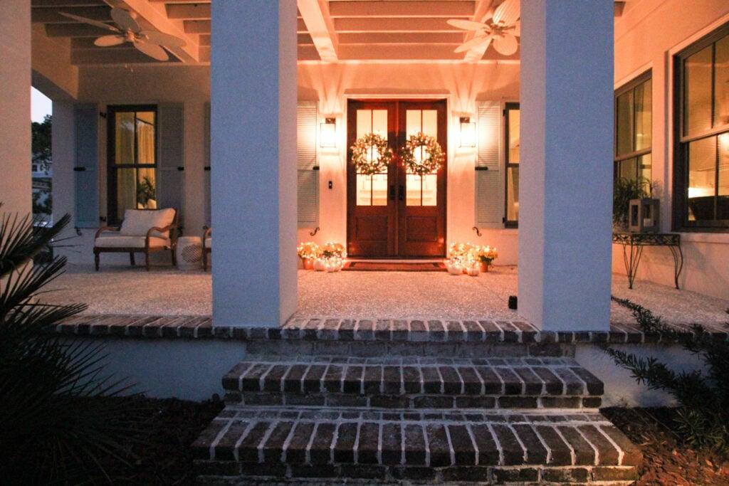 Dazzling light on front door:
