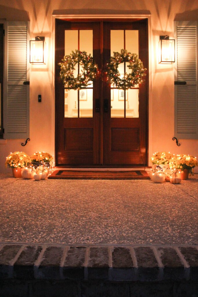 Lighted front porch: How To Decorate Double Front Doors For The Holiday