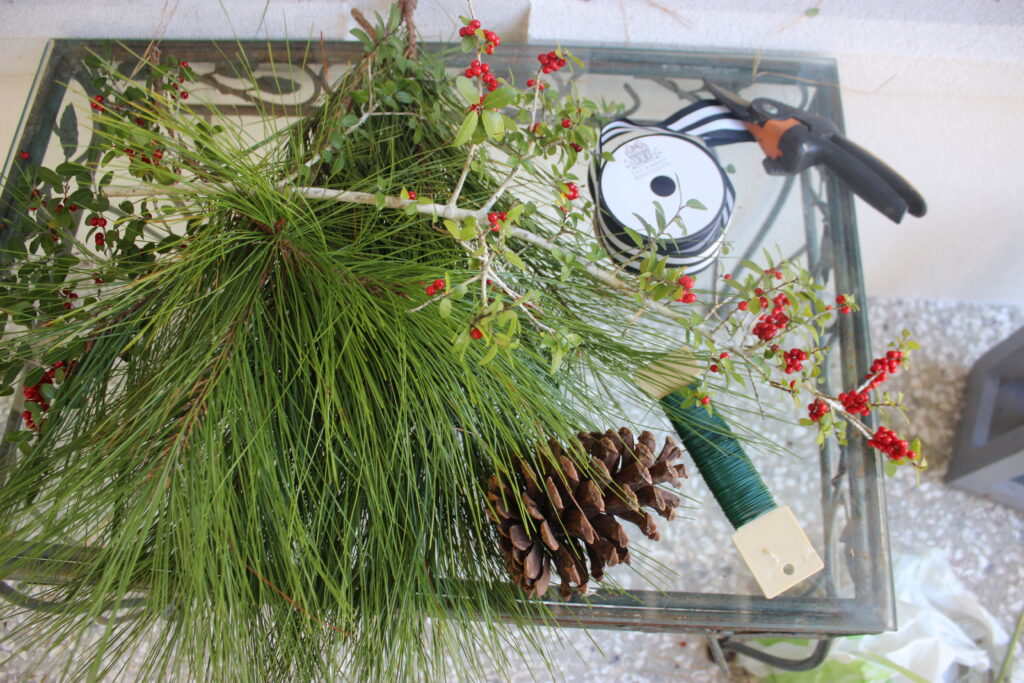 Supplies for swag:How To Make Christmas Evergreen Swag Wreath