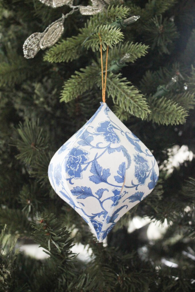 Chinoiserie ornaments you can hang:How To Decoupage Chinoiserie Christmas Ornaments