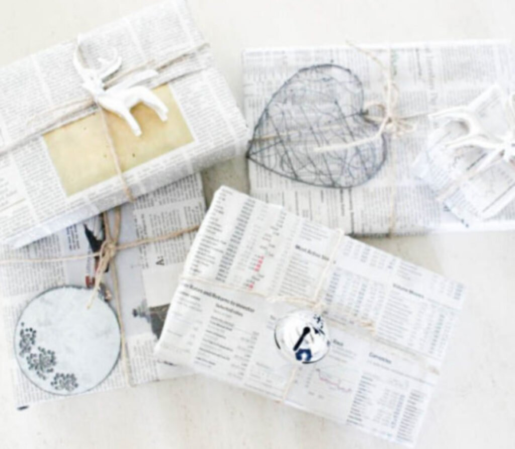 Newspaper wrapping paper:17 Holiday Recycled Gift Wrapping Ideas