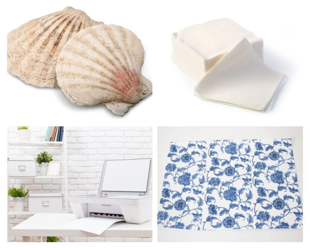Supplies for How To Decoupage Seashell Christmas Ornaments