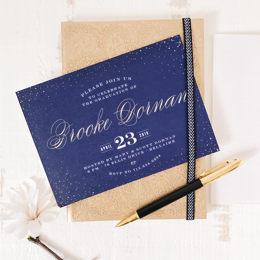 Shimmery blue: Graduation Invitation Ideas