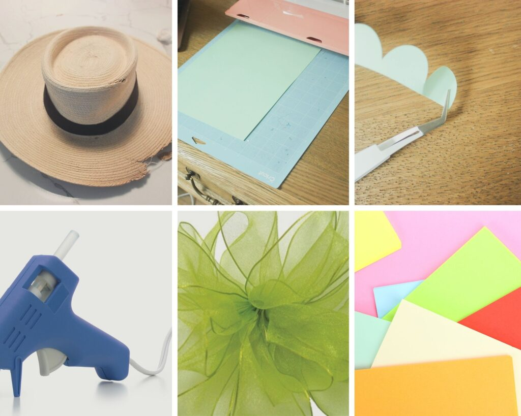 Supplies for paper flower wreath:How To Make a Paper Flower Wreath Using Straw Hat