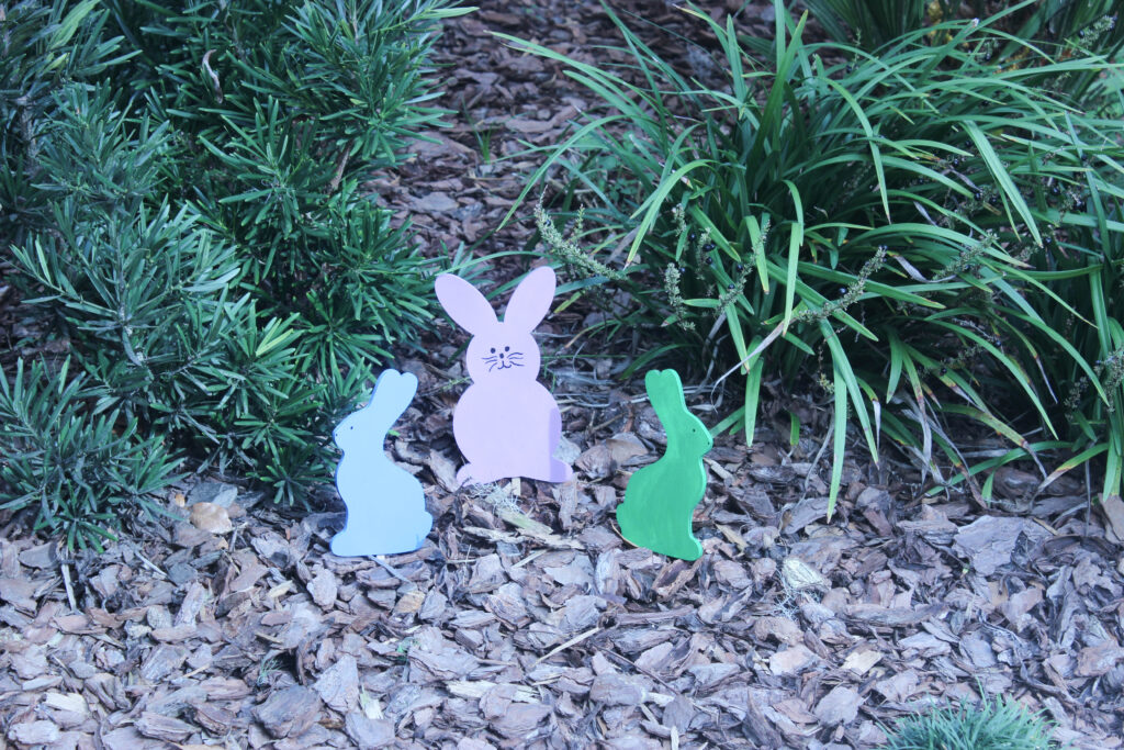 colorful wooden easter bunnies