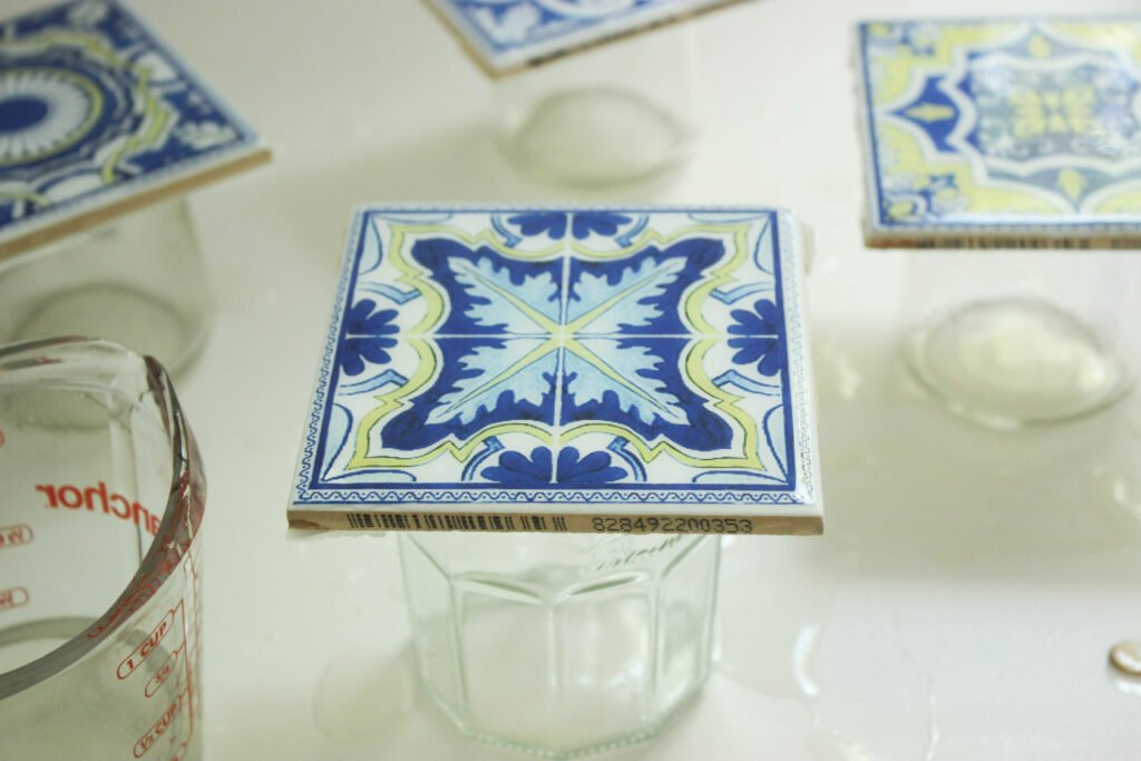 Pour high gloss on your coasters:How To Make Tile Coasters Waterproof
